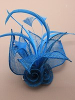 Turquoise Hair Fascinator - Turquoise Flower Fascinator | Masks and Tiaras