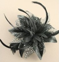 Black Fascinator - Black Flower Hair Fascinator | Masks and Tiaras