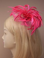 Pink Hair Fascinator - Pink Beaded Fascinator | Masks and Tiaras