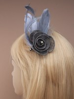 Grey Fascinator - Grey Mesh Hair Fascinator | Masks and Tiaras